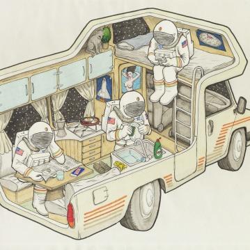 """""""tres astronautas en una autocaravana"""""""
