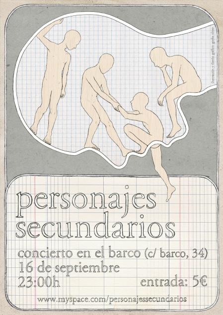 """cartel de concierto para """"personajes secundarios"""""""